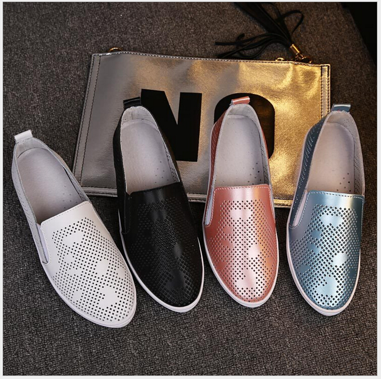Summer Summer Genuine leather Casual Flat Shoes Women Simple Pointed Toe Slip-on loafers hollow-out White lazy shoes