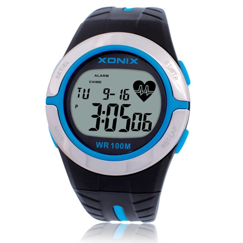 Varm!! Pulsmätare Unisex Sportklockor Vattentät 100m Män och Kvinnor Digital Klocka Köra Dykning Klocka Montre Homme