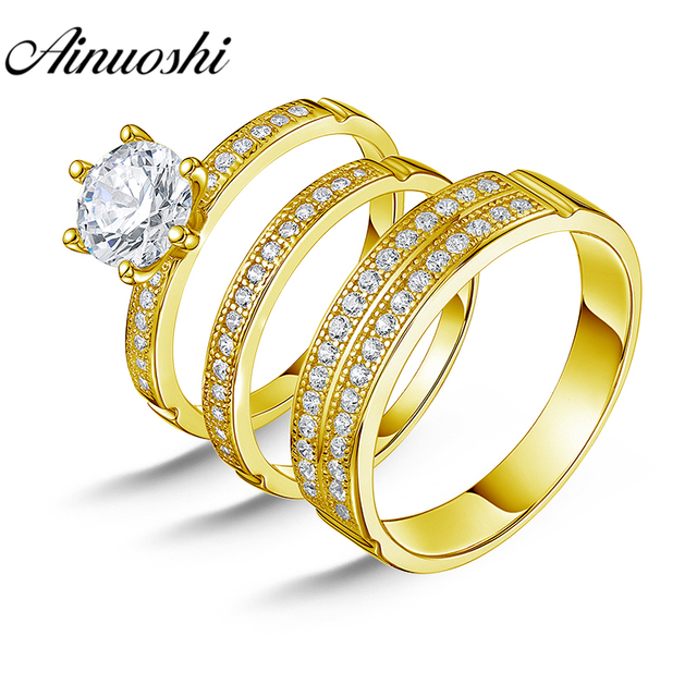 AINUOSHI 6.6g Real Gold TRIO Rings Bridal Ring Set 2 Rows Drill Band Engagement Jewelry 10K Yellow Gold Couple Wedding Rings Set