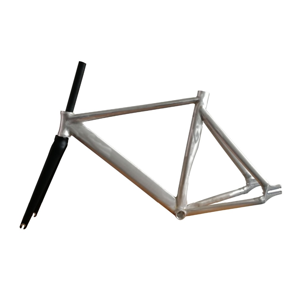Fixed Gear Bike Frame 53 cm No Finish Smooth Welding Raw Frame Fixie Bicycle Frame Aluminum Alloy Frame with carbon Fork tsunami chameleon fixed gear frameset aluminium frame with carbon fork 700c x 50cm 52cm high quality