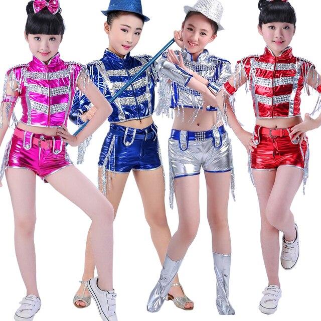 kids stage modern dance outfits girls ballroom jazz dancing tops