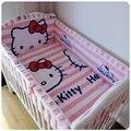 Promoção! 6 pcs Rosa conjunto fundamento do bebê 100% algodão bebê berço cama conjuntos de cama de bebé (amortecedores + ficha + travesseiro cover)