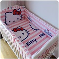 Promotion! 6pcs Pink baby bedding set 100% cotton crib baby cot sets baby bed (bumpers+sheet+pillow cover)