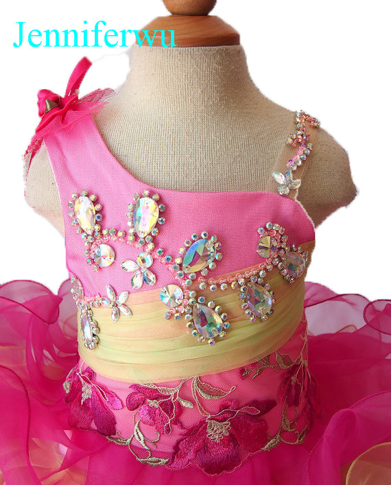 glass AB stone beaded  cupcake baby girl pageant dress 1T-6T G106-7