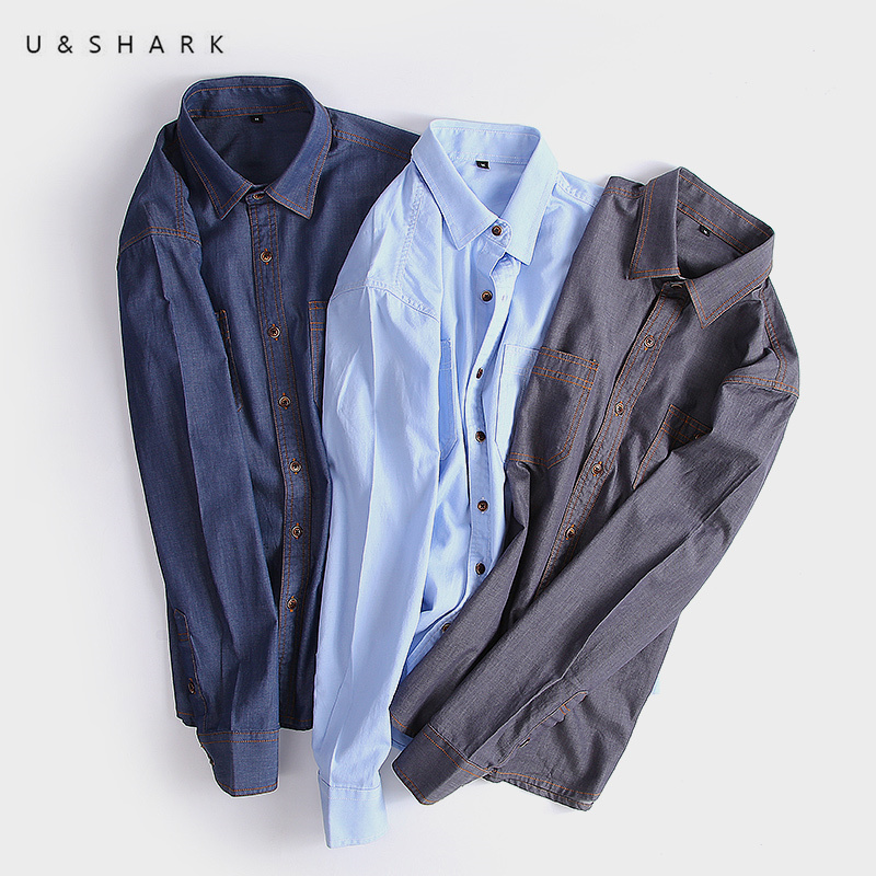 U&SHARK 2018 Autumn Jeans Shirt Men Blouse Slim Fit Vintage Style Chambray Shirt Male Long Sleeve Cotton Denim Shirts Casual Рубашка
