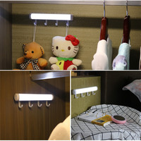 ZjRight Led USB Rechargeable Battery PIR Sensors Cabinet With Hook Auto Motion Kitchen Bedroom Wardrobe Indoor