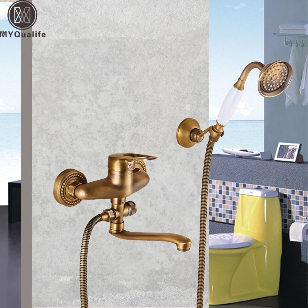 Single Handle 25cm Long Spout Bathtub Sink Faucet Handheld Shower ...