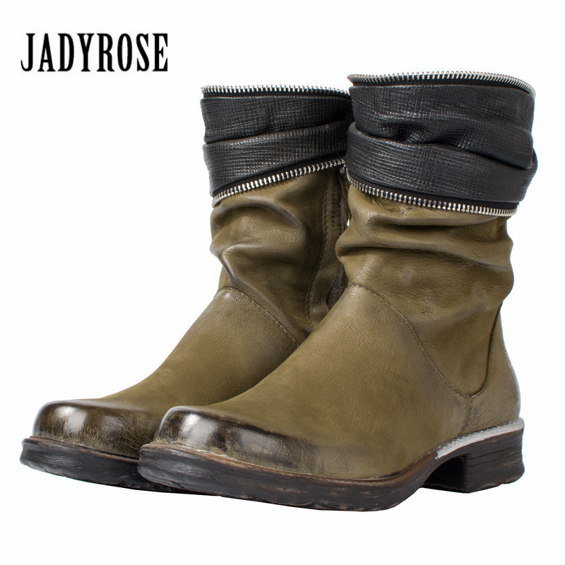 Jady Rose Green Ankle Boots for Women Leather Flat High Boots Zip Decor Rubber Shoes Woman Platform Autumn Winter Martin Boot fanyuan pu leather shoes women ankle boots autumn thick high heel martin boots zip winter handmade leather shoes boot blac