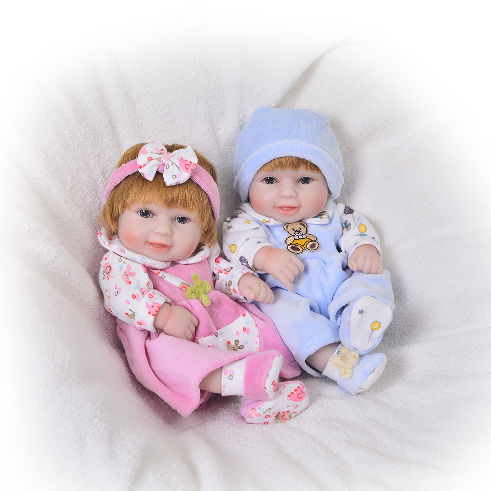 KEIUMI 11 Reborn Baby Dolls Girl and Boy Twins Full Body Silicone Waterproof Reborn Boneca So Truly Newborn Doll For kids Gift