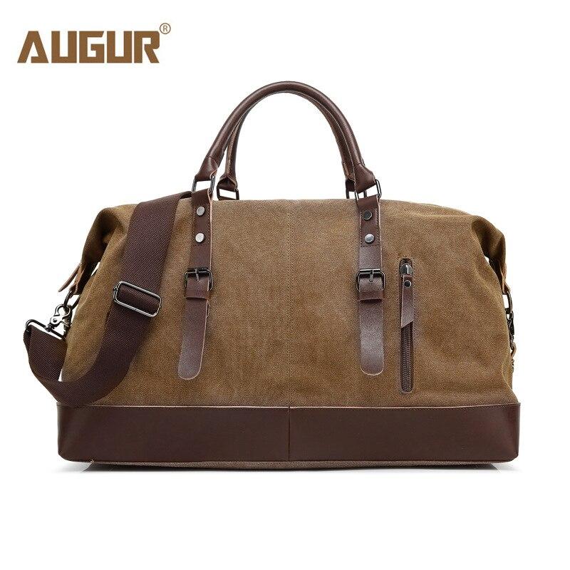 AUGUR hommes sacs de voyage toile cuir porter bagages sacs hommes sacs polochon voyage fourre-tout grande capacité week-end sac nuit