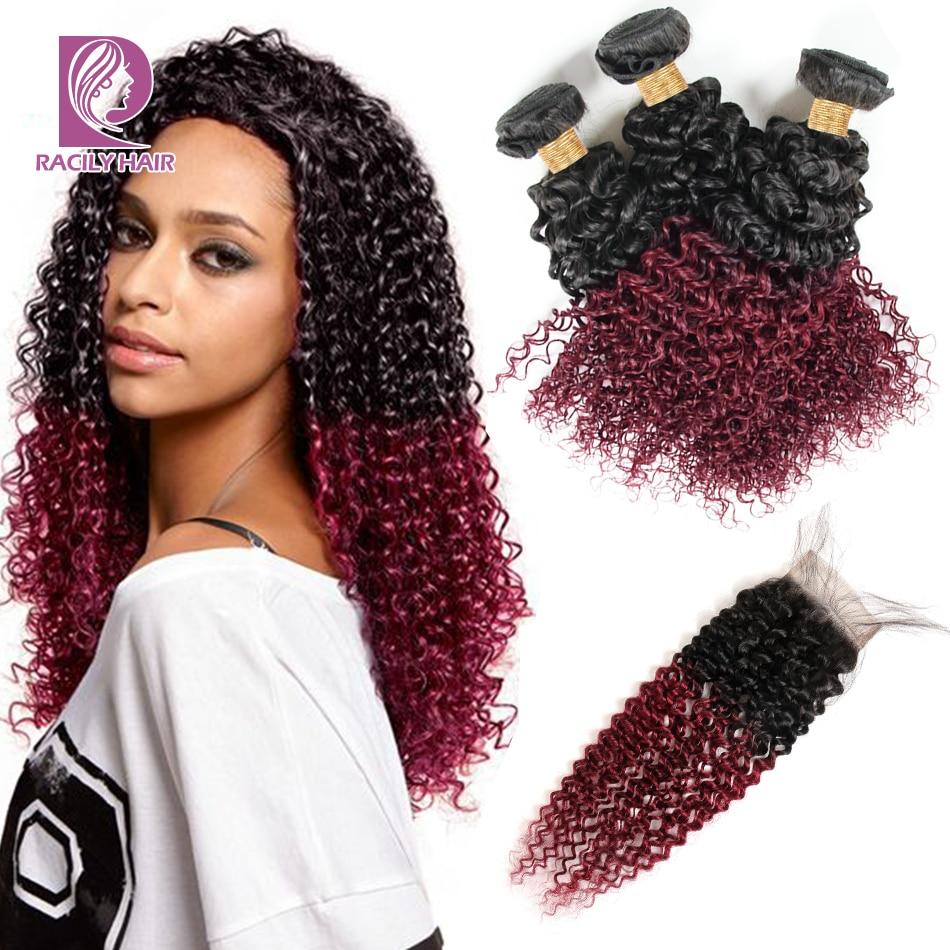 Racily Hair T1B Burgundy Peruvian Kinky Curly Bundles With Closure Remy Human Hair 3 4 Bundles