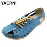 YAERNI Split Leather Sandals Summer Wedges Gladiator Sandals Platform Shoes Woman Lace Up Breathable Women Shoes