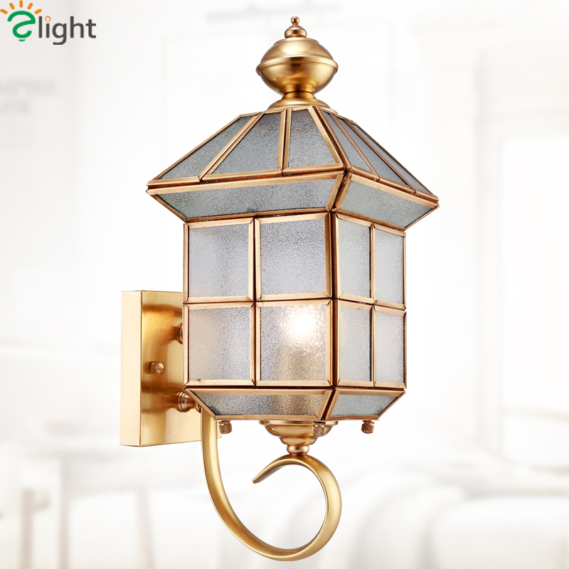 European Lustre Copper Led Wall Lamp Grid Glass Corridor Led Wall Light Living Room Led Wall Lights Outdoor Led Wall Sconce