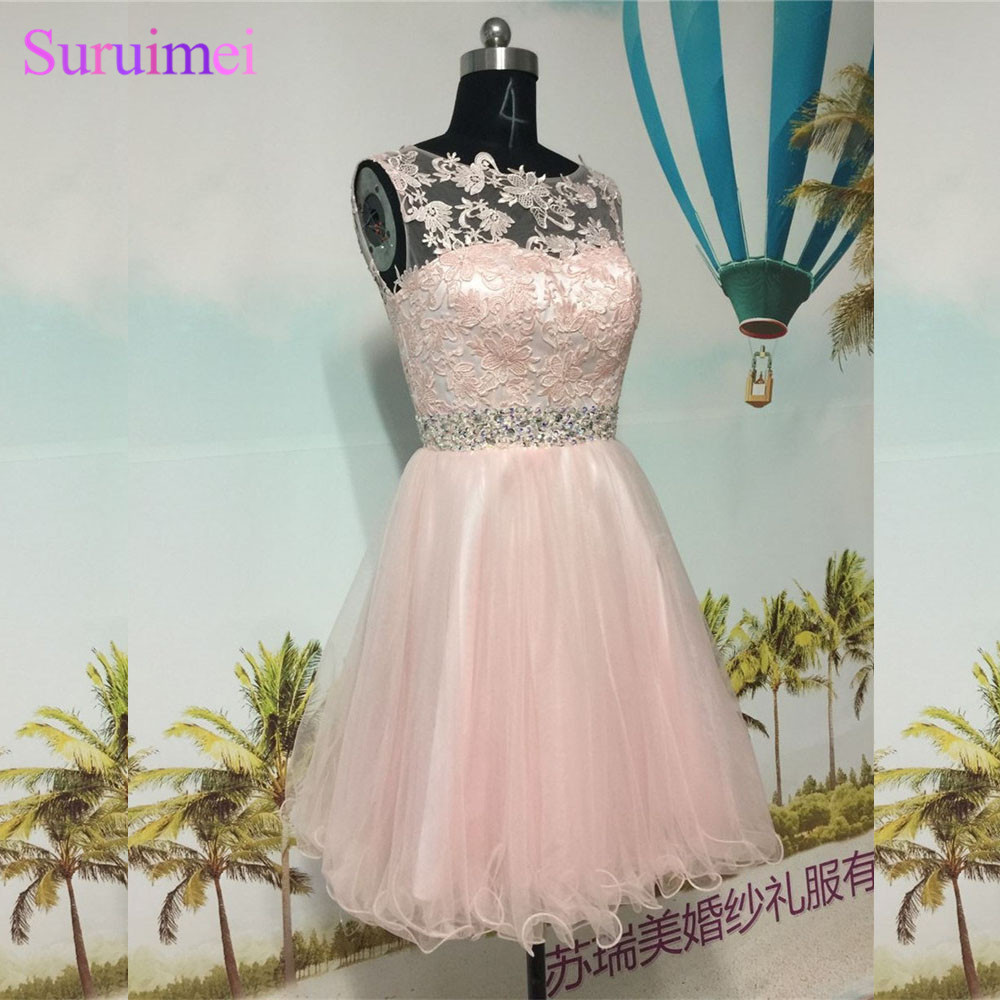 Pearl Pink Short Homecoming Dresses High Neck Tulle Applique Beaded Sash Key Hole Back Blush Pink Graduation Party Gown