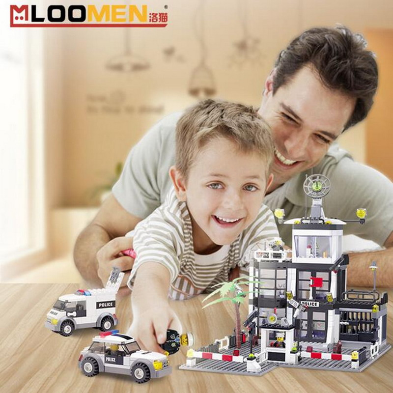 6725 KAZI City Series Police Station Model Building Blocks Classic Enlighten DIY Figure Toys For Children Compatible Legoe 10639 bela city explorers volcano crawler model building blocks classic enlighten diy figure toys for children compatible legoe