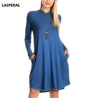 LASPERAL Solid Hooded Pocket Dress Women Casual Long Sleeve Loose Vestidos Top Quality Spring Outwear Fashion