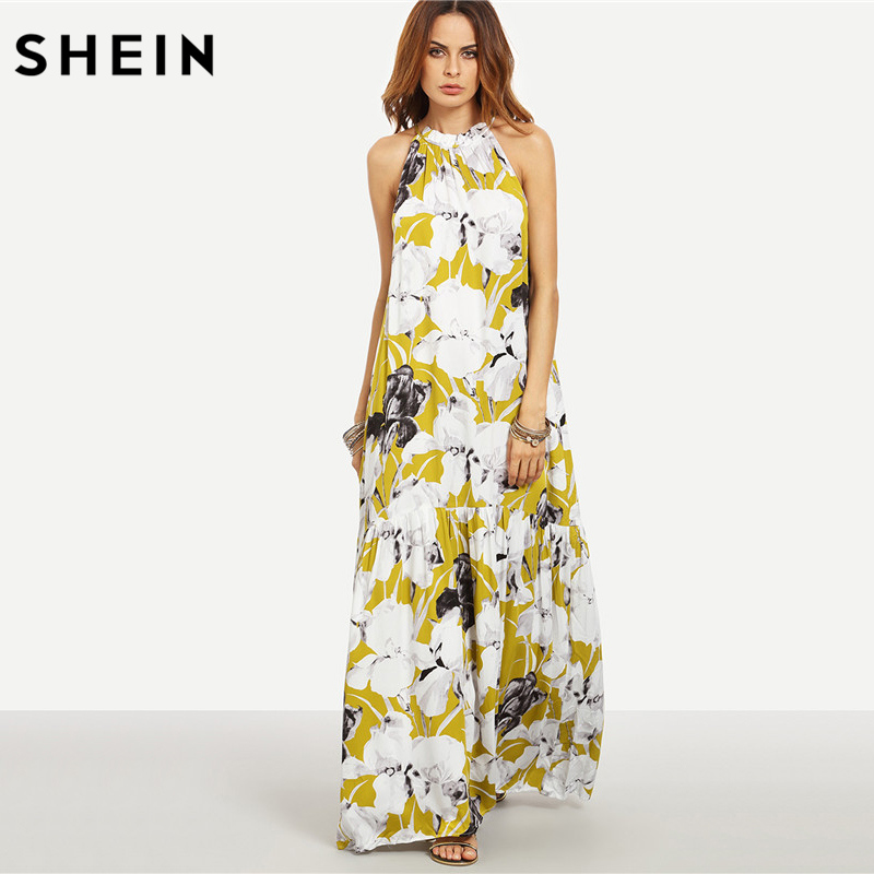 79a3904c82 SHEIN Womens Summer Long Beach Dresses Boho Ladies New Style Fashion  Multicolor Floral Print Sleeveless Maxi Dress-in Dresses from Women's  Clothing on ...