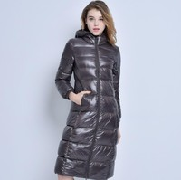 Spring Autumn winter 90% white duck extra long down jacket women's Ultra light weight brand down coat female outerwear