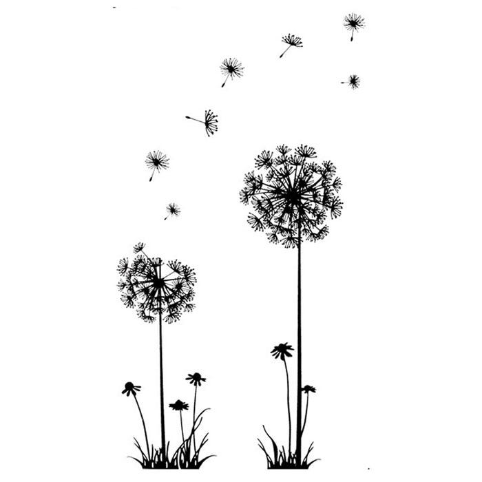 Черный Творческий ПВХ цветка одуванчика завод дерево большой Съемный Главная Наклейка на стену s
