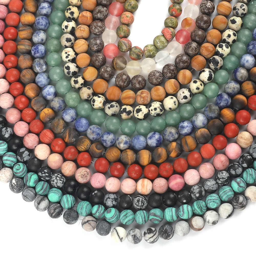 4 6 8 10mm cuentas de piedra Natural mate ágata ónix cuarzo rosa cuentas redondas sueltas para fabricación de joyería DIY collar de pulsera
