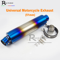 51mm Universal Motorcycle Exhaust Muffler 440mm Length Blue Color Pipe Scooter GY6 Exhaust CBR125 FZ400 Z750 R1 R3 R6