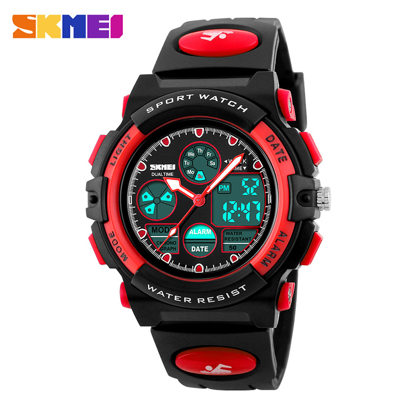 Kids Sports Watches Children Waterproof Dual Display Wristwatches LED Waterproof Digital Watch For Girls BoyS SKMEI 2018