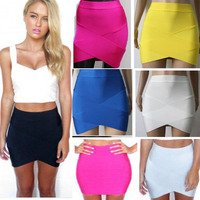 Bandage Rayon Good Elastic Women Skirts Mini Sexy Slim Pencil Clubwear Suitable Black Gray Rose Green