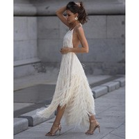 Red Prom Party Dress Women Summer 2019 Fashion Backless Black Sexy Dress Fringe Ladies Halter A Line Tunic Midi Dress For Women