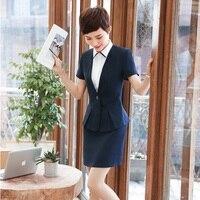 Verano manga corta 2 unidades Tops y falda para las mujeres de negocios entrevista trabajo oficina trabajo Blazers Sets más tamaño