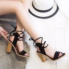 XDA Sexy Women Pumps Open Toe Lace up Heels Sandals Woman sandals Thick with Women Shoes women High heels X357