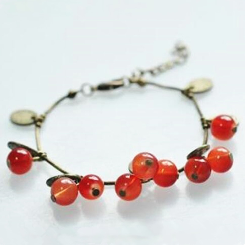 2020 HOT Sale 220mm+50mm bangles jewelry store vintage sweet cherry crystal bracelets Cheap Price Wholesale