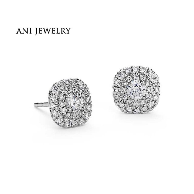Ani 14k White Gold Women Wedding Diamond Earrings 1 08 Ct Certified I S2 Natural