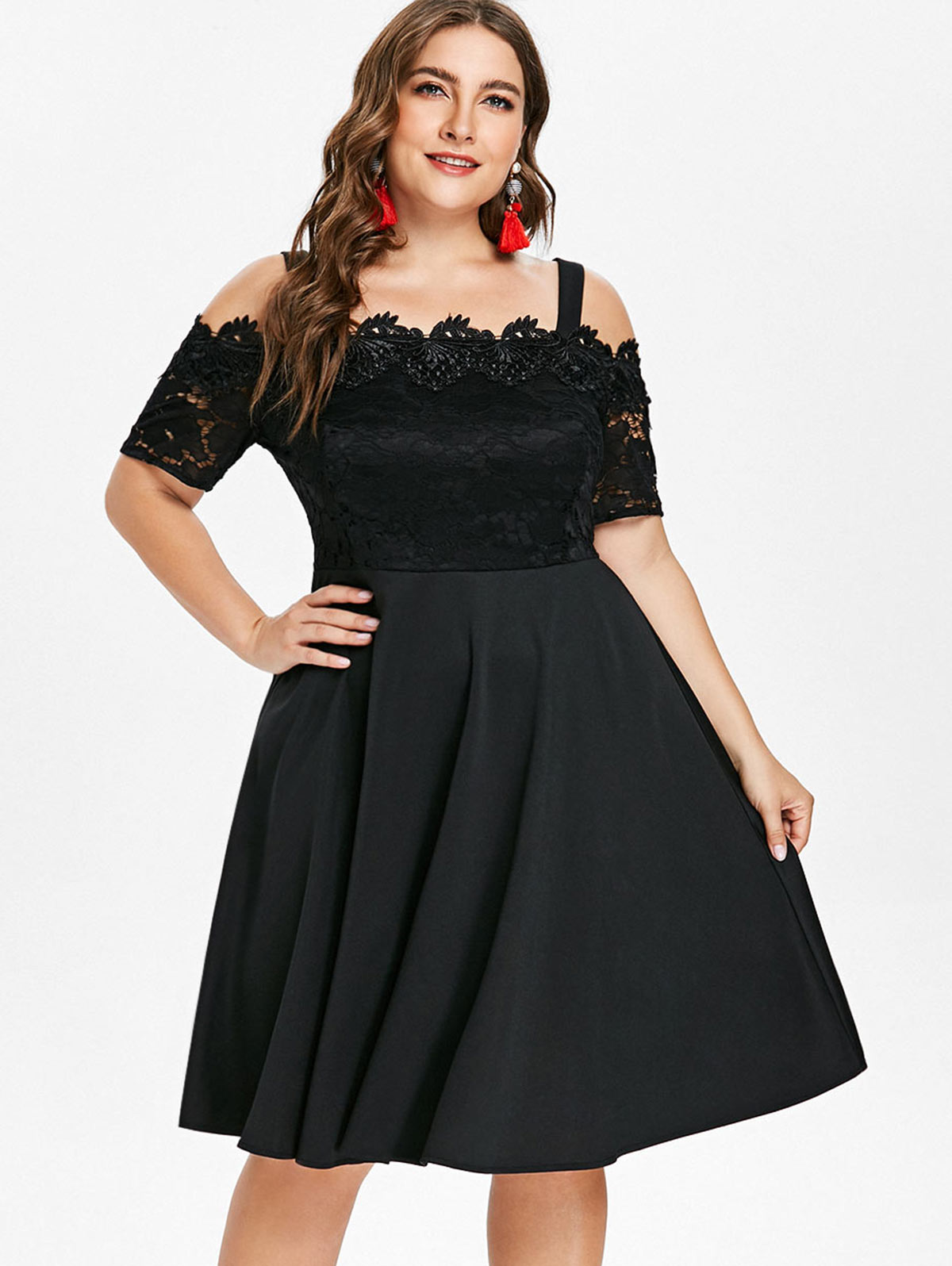 999d9d1821 Wipalo Plus Size Lace Panel Flared Dress Women Cold Shoulder Short Sleeves  A-Line Party Dress Female Spring Clothings Vestidos