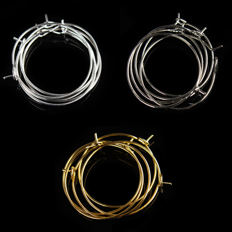 20pcs Brass Round Leverback Earwires Smooth Clip Closure Ring Hoops 20mm 24mm