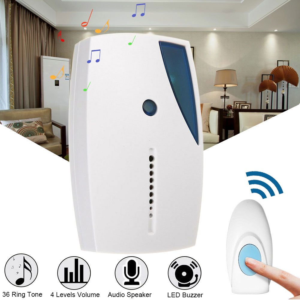 36 Tune Wireless Doorbell LED Indication Long Distance Smart Remote Control Hotel Transmitter Receiver Security Chime Music