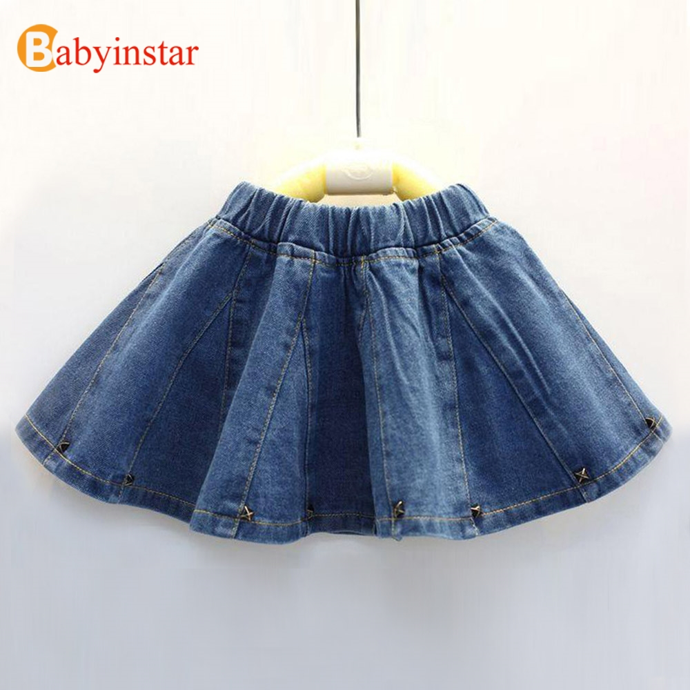 купить Babyinstar Girls Skirts 2018 Baby Girls Denim Skirt Toddler Children Jean Skirt Summer Style Cute Infant Child Kids Rivet Skirts по цене 543.3 рублей