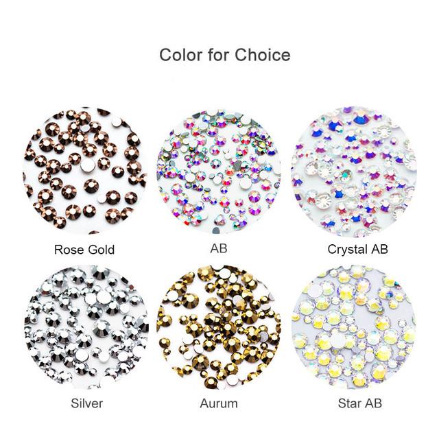500pcs Nail Art Rhinestone Mix SS3-SS20 Size Glass Flatback Crystal Nail Rhinestones For Nails Art 3D Decorations MJZ2101
