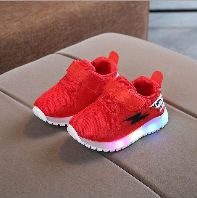 Cool Beautiful Colorful Lighting Up Baby Causal Sneakers All Season Sports Running Baby Shoes Running Boys Girls Led Shoes