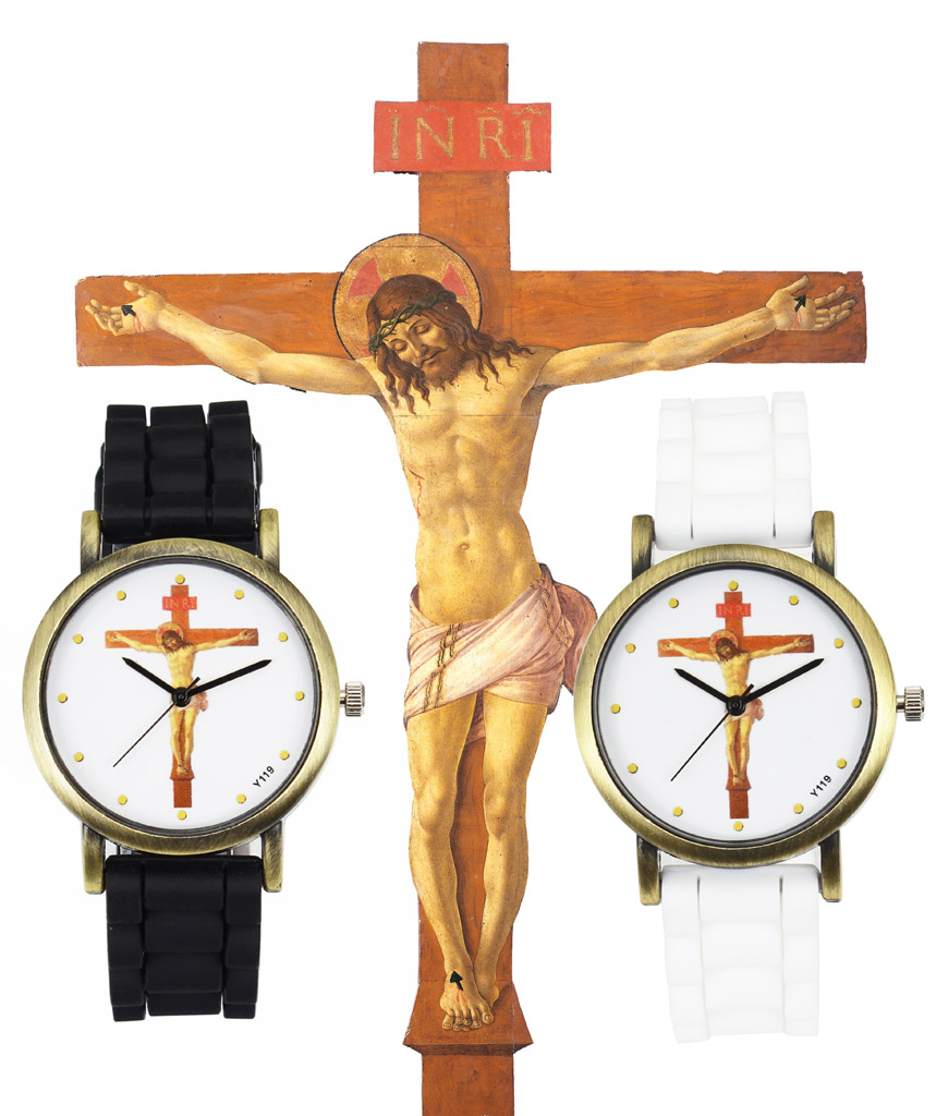 Jesus Kristus Korsfästkors Fashion Silicone Band Quartz Klockor Män Kvinnor Klänning Påsk Christian Religiös Sport Armbandsur