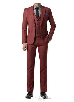 Wine red Suit Custom Made Wedding Suits With Pants Mens Tuxedos Grooms Shawl Black Lapel One Button( jacket+Pants+vest+tie)