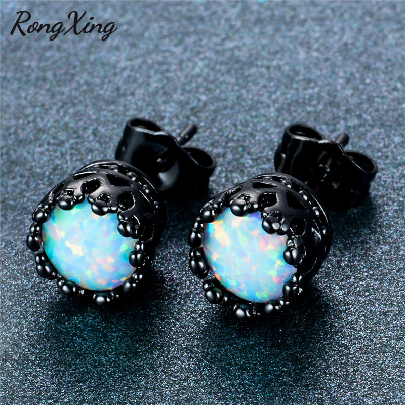 filled stud women green earrings item fashion jewelry gold men rongxing black in vintage from wedding fire for opal
