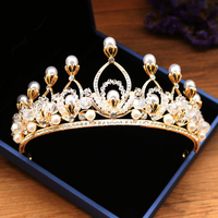 2018 New Luxury Large Wedding Pageant gold Tiara Crown With Earring Matching Crystal Bridal Pageant Crown And Tiaras For Women