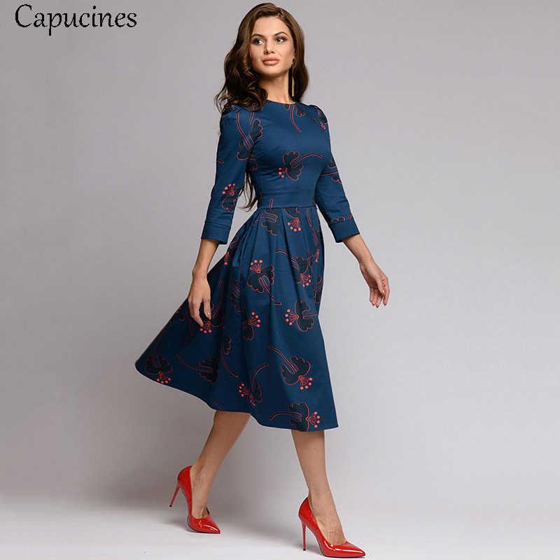 Capucines Темно-синее платье Рукава 3/4 напечатанный Платье женское 2019 весна лето марочный карманный A-линии Повседневная Платье Elegent Бальные платья