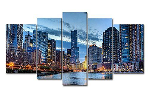 BANMU Printing Oil Painting chicago skyscrapers Wall painting Decor Wall Art Picture For Living Room painting No Frame
