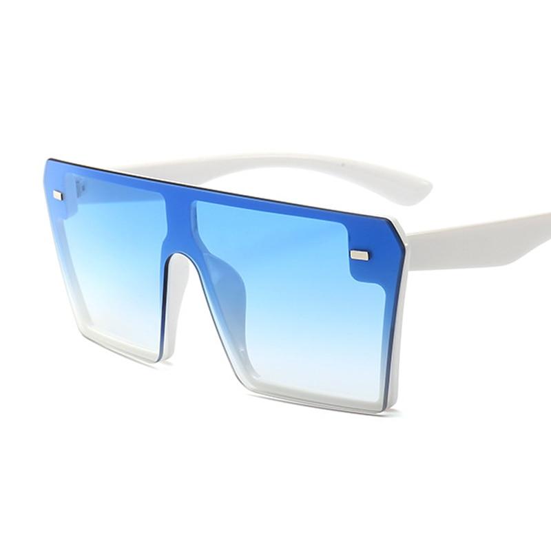Oversized Square Sunglasses Women 2021 Luxury Brand Fashion Flat Top Red Black Clear Lens One Piece Men Gafas Shade Mirror UV400 18