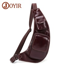 цены JOYIR High Quality Men Genuine Leather Cowhide Chest Bag Casual Fashion Men Messenger Bag New Design Men Chest Bag Shoulder Bag
