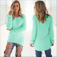 Plus Size 2018 Knit Casual Pullover Women Spring Sweater Solid Top New Fashion Long Sleeve O