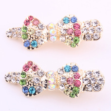 Fashion crystal Jewelry for hair Classic leaf clips colors stones  crocodile gold alligator lady 2 PIECES