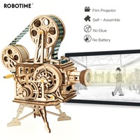 Robotime Hand Crank Diy 3D Film Projector Wooden Model Building Kit Assembly Vitascope Toy Gift for Children Adult LK601