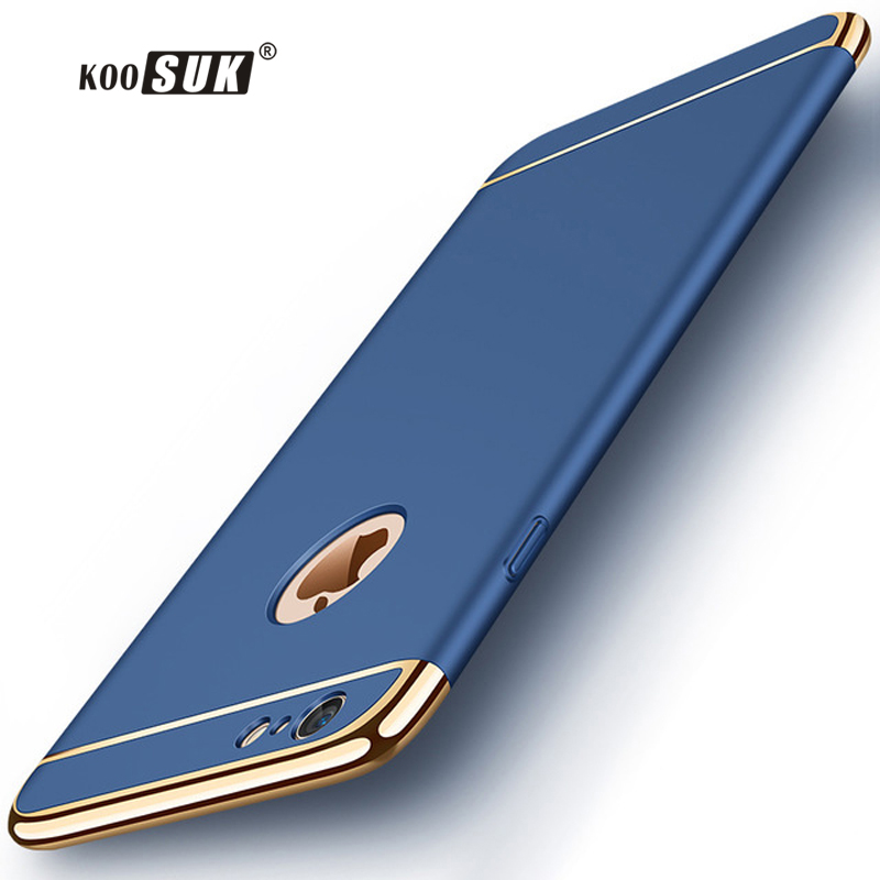 Kosos luxo fosco case para iphone 6 6 s 7 8 plus casos moda costura tampa traseira para iphone 8 7 6 anti-knock phone bag funda